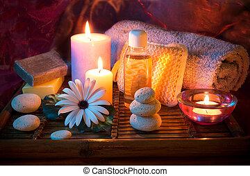 spa, vela, pedra, óleo, sabonetes