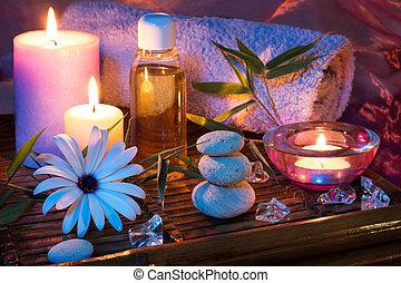 spa, vela, pedra, gelo, óleo, bambu