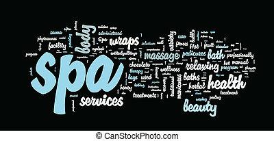 spa, vetorial, palavra, nuvem, ilustração