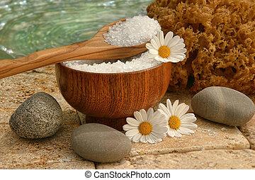 spa, vida, com, sais banho, e, margaridas