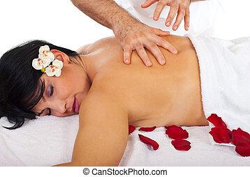 spa, vrouw, het genieten van, masseren
