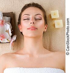 spa, vrouw, in, knapheid salon