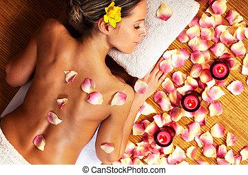 spa, vrouw, jonge, masseren, salon.
