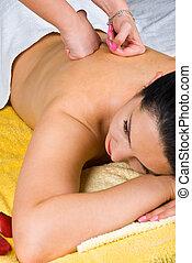 spa, vrouw, krijgen, achtermassage