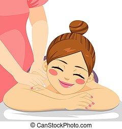 spa, vrouw, masseren