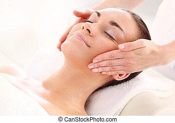 spa, vrouw, -, masseren, gezicht