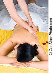 spa, vrouw, masserende handen, persoon