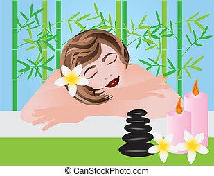 spa, vrouw ontspannend, illustratie