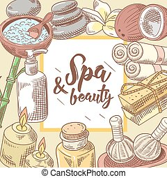 Spa Wellness Beauty Hand Drawn Background. Aromatherapy Health Elements Set. Skin Treatment. Vector illustration
