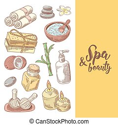 Spa Wellness Beauty Hand Drawn Design. Aromatherapy Health Elements Set. Skin Treatment. Vector illustration