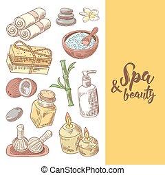 Spa Wellness Beauty Hand Drawn Design. Aromatherapy Health Elements Set. Skin Treatment. Vector illustration