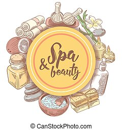 Spa Wellness Beauty Hand Drawn Doodle. Aromatherapy Health Elements Set. Skin Treatment. Vector illustration