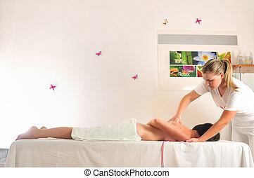 spa, wellness, centrum, masseren, back