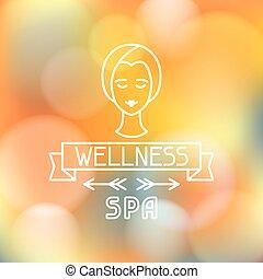 spa, wellness, fundo borrado, etiqueta