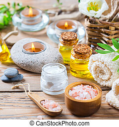 Spa wellness setting concept, background with essential oil...