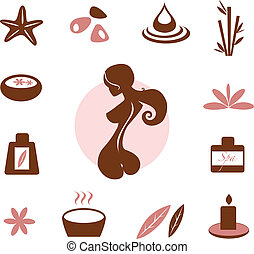spa, wellness, verzameling, pictogram