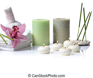spa with orchid on white