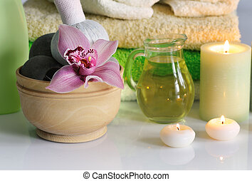 spa with orchid