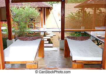 SPA with outdoor jacuzzi at luxury hotel, Bentota, Sri Lanka...