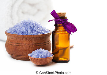 Spa with sea salt and towel. isolated