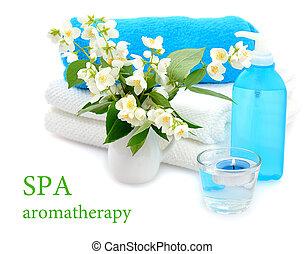spa with twig of jasmin