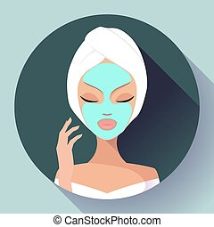 Spa Woman applying Facial cleansing Mask. Beauty Treatments