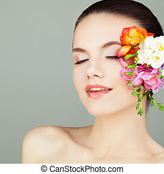 Spa Woman Face with Flowers, Closeup Portrait