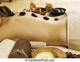 spa, woman., quentes, pedras, massagem