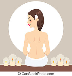 Spa Woman Relaxing Candles - Beautiful young woman naked...