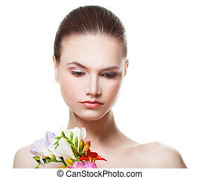 Spa Woman with Fresh Flowers Isolated. Natural Beauty