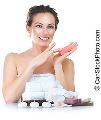 Spa Woman with Handmade Soap