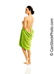 Spa woman wrapped in towel
