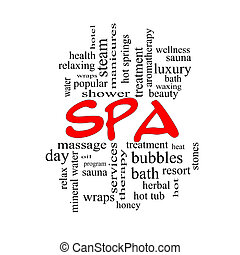 Spa Word Cloud Concept in red caps