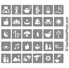Spa yoga zen flat icons isolated on white