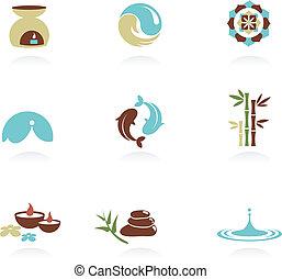 spa, zen, verzameling, iconen