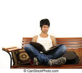 spaans, magazine, lezende , man