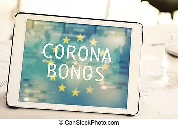 spaanse , tablet, tekst, corona, banden