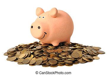 spaardose, und, geldmünzen
