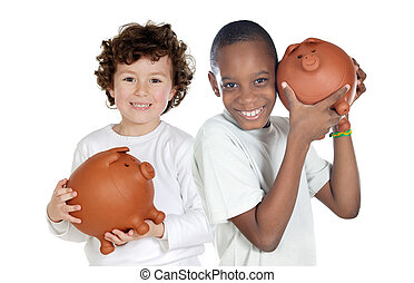 spaarduiten, vrolijke , kinderen, twee, moneybox