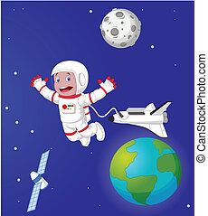 spac, dessin animé, extérieur, astronaute