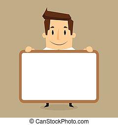 space., üzletember, screen., üres, átnyújtás, bemutatás, hirdetőtábla, fehér