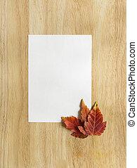 space., 上に, 葉, 背景, 木製である, コピー, 秋