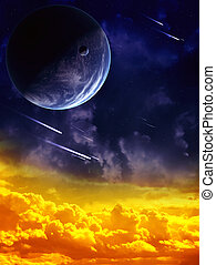 Space - A beautiful space scene with planet and nebula