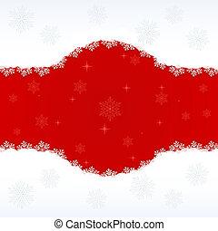 space., achtergrond, kopie, vector, rood, sneeuwvlok