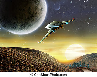 Space adventure - Futuristic spaceship traveling in a...