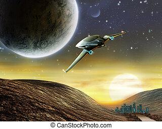 Space adventure - Futuristic spaceship traveling in a...