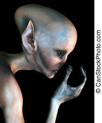 Space Alien Closeup - Space alien visitor from outer space. ...