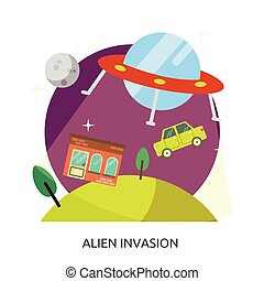 Space Alien Invasion Vector Image
