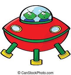 Cartoon illustration of a flying sauce with two green aliens