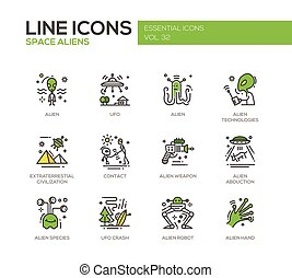 Space Aliens - line design icons set
